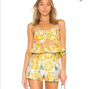 Brocade Shorts & Sweetheart Peplum Top